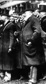 Edward VII (left) and Prince George (right) at the paddock on Derby day at Epsom, 26 May 1909