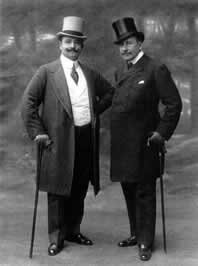 Atta Bey (left) and another Turkish gentleman wearing frock coats during their stay at the Palace Hotel in Paris - by Paul Nadar 10 September 1908